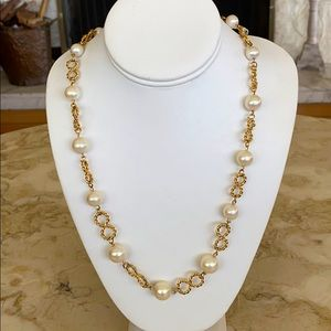 Faux Pearl Gold Tone Chain Necklace